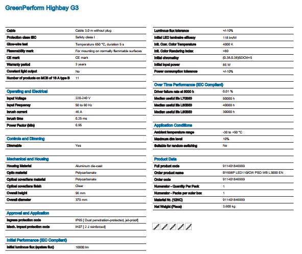 Philips - BY698P LED110/CW PSD WB L3000 EN