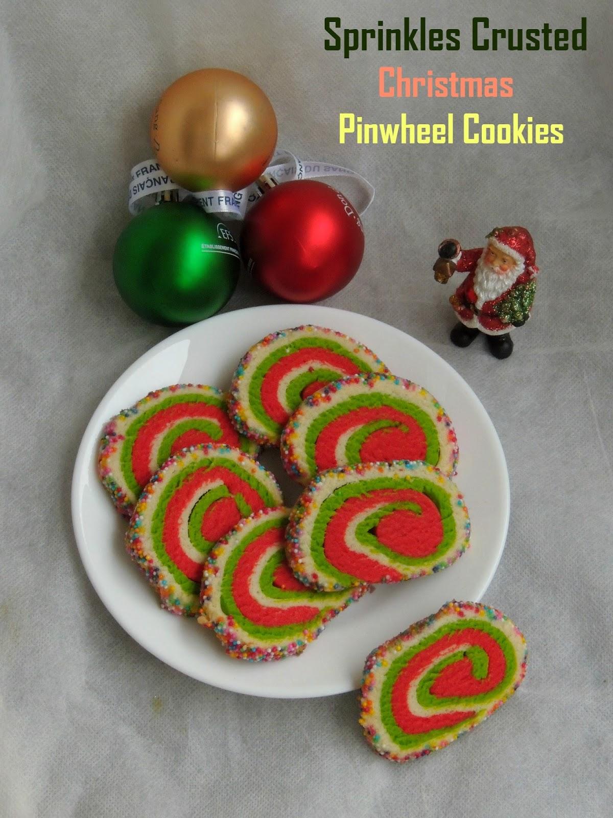 Christmas Pinwheel Cookies.Priya S Versatile Recipes Sprinkles Crusted Eggless