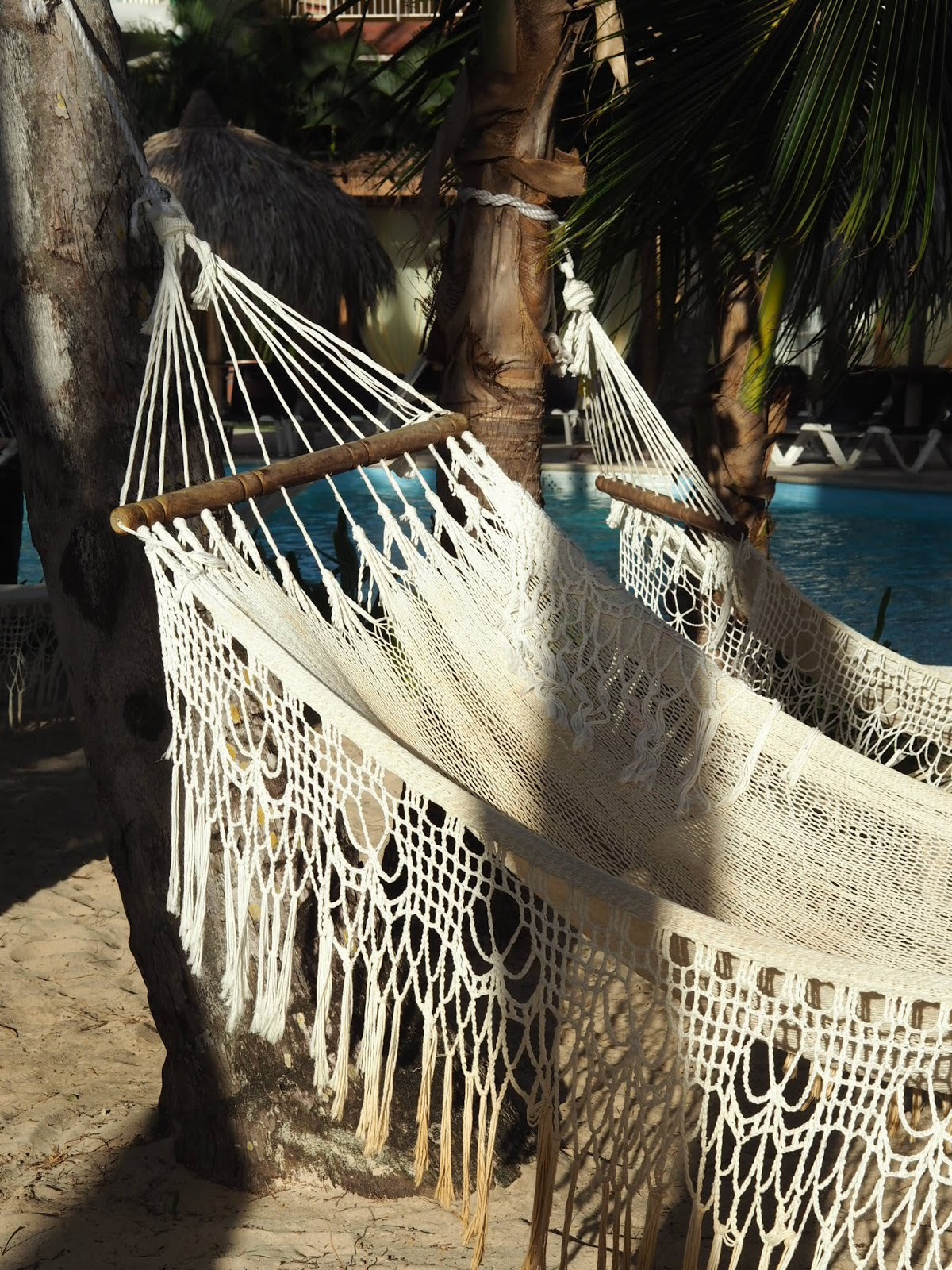 Poolside woven hammock