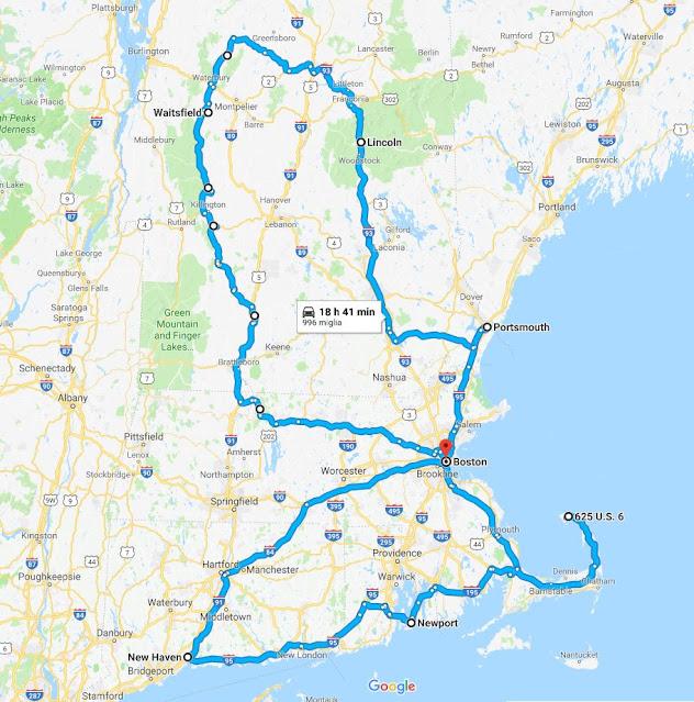 Mappa dell'itinerario nel New England