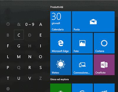 Lettere iniziali app e programmi menu start Windows 10