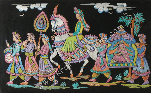 Indian-Wedding-Procession-Emboss-Painting
