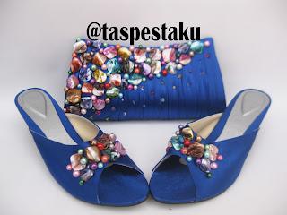 Sandal Pesta dan Tas Pesta Matching Biru ELektrik