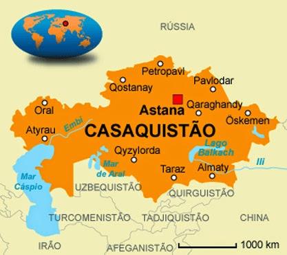 Cazaquistão mapa