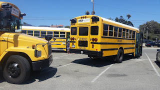Summer camp buses parked in the Zuma Beach parking lot getting ready to bring campers home after a day at camp