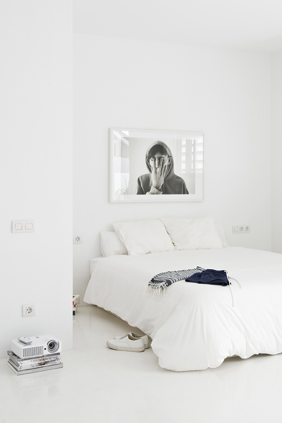 The White Retreat, Sitges, Spain. Small all white apartment design by CaSA. Photo by Roberto Ruiz