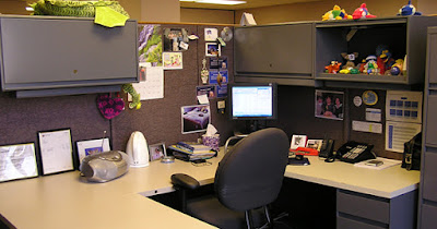 Organized office cubicle