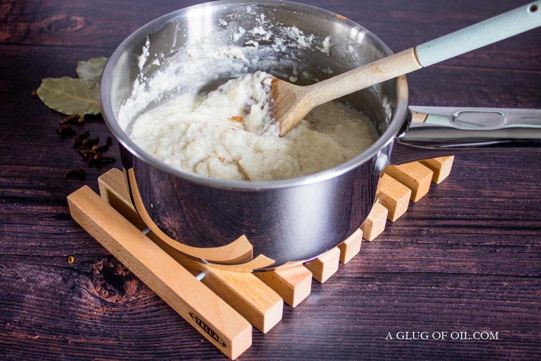 Bread sauce in a saucepan