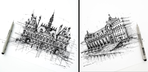 Hotel de Ville. and Musee d'Orsay. Urban Sketches of Paris in France. To see more larger size art and...