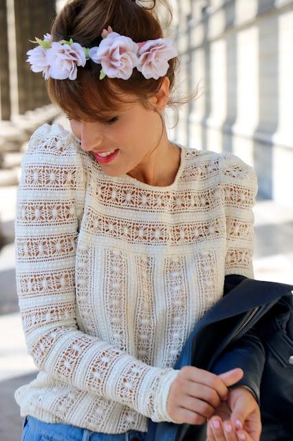 blouse dentelle blanche