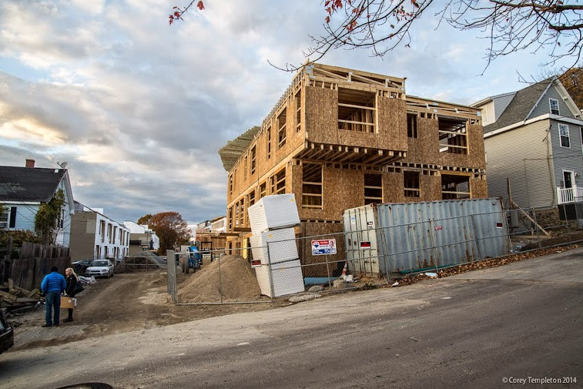 Portland, Maine November 2014 Photo by Corey Templeton construction of Munjoy Heights townhomes on Munjoy Hill