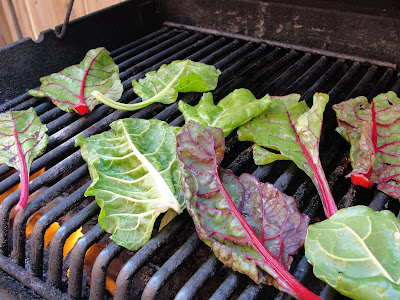 swiss chard on the barbeque