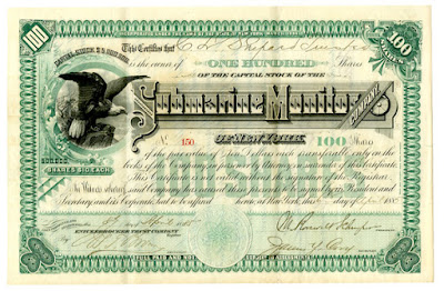 Submarine Monitor Company of New York stock certificate, 1885