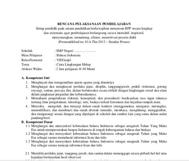 RPP Bahasa Indonesia SMP/MTs Kelas 7 Kurikulum 2013 Revisi 2016 Semester 1 Semester 2