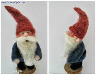 needle felted gnome front view and side view