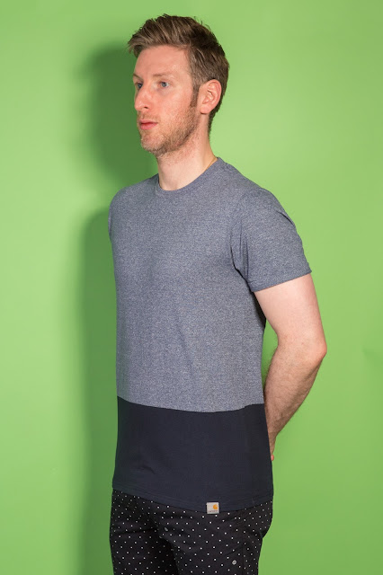 22f33a31 Phil wears: Yarn-Dyed Block T-shirt in Blue Noise Heather / Duke Blue and  Johnson Short in Economy Print Black / White Store Assisant and in store  stylish ...