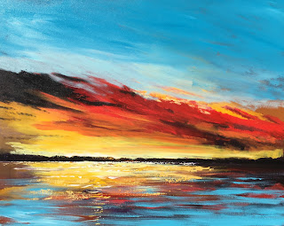Ocean sunset painting colorful sky