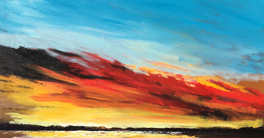 Ocean sunset painting colorful sky By derek collins