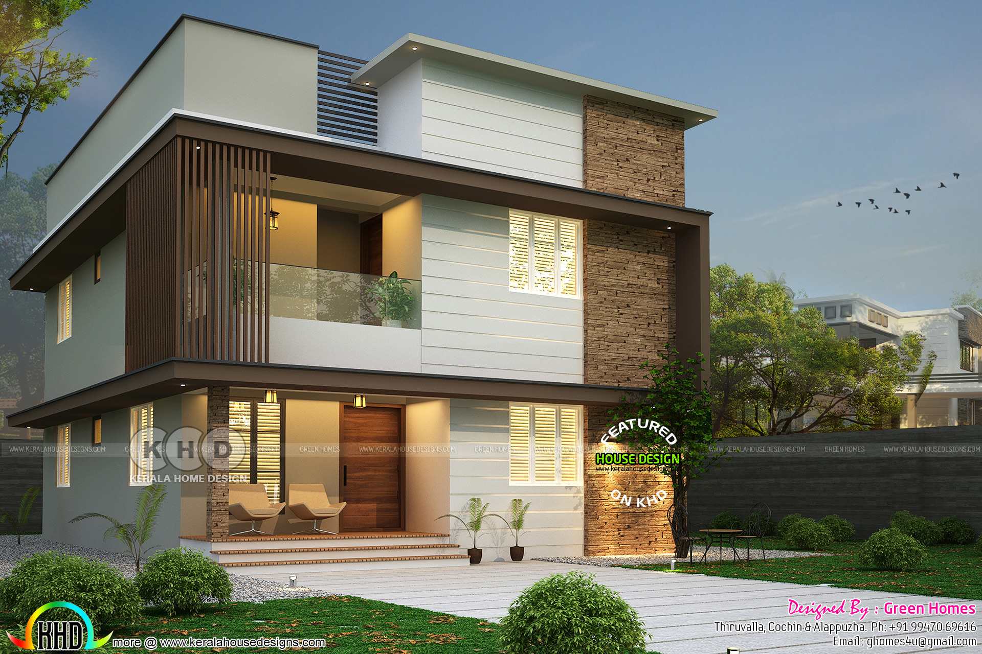 Modern house 2200 sq-ft with 4 bedrooms - Kerala home ...