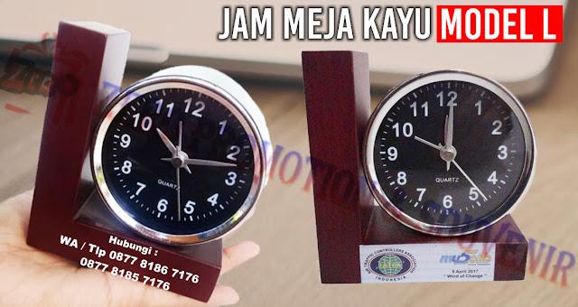Jam Meja Kayu, Jam meja bentuk L, Jam Meja Kayu Grafir Logo, Souvenir jam meja Natural, Wooden Clock, Jam Meja Kayu Custom Souvenir Daur Ulang termurah di tangerang