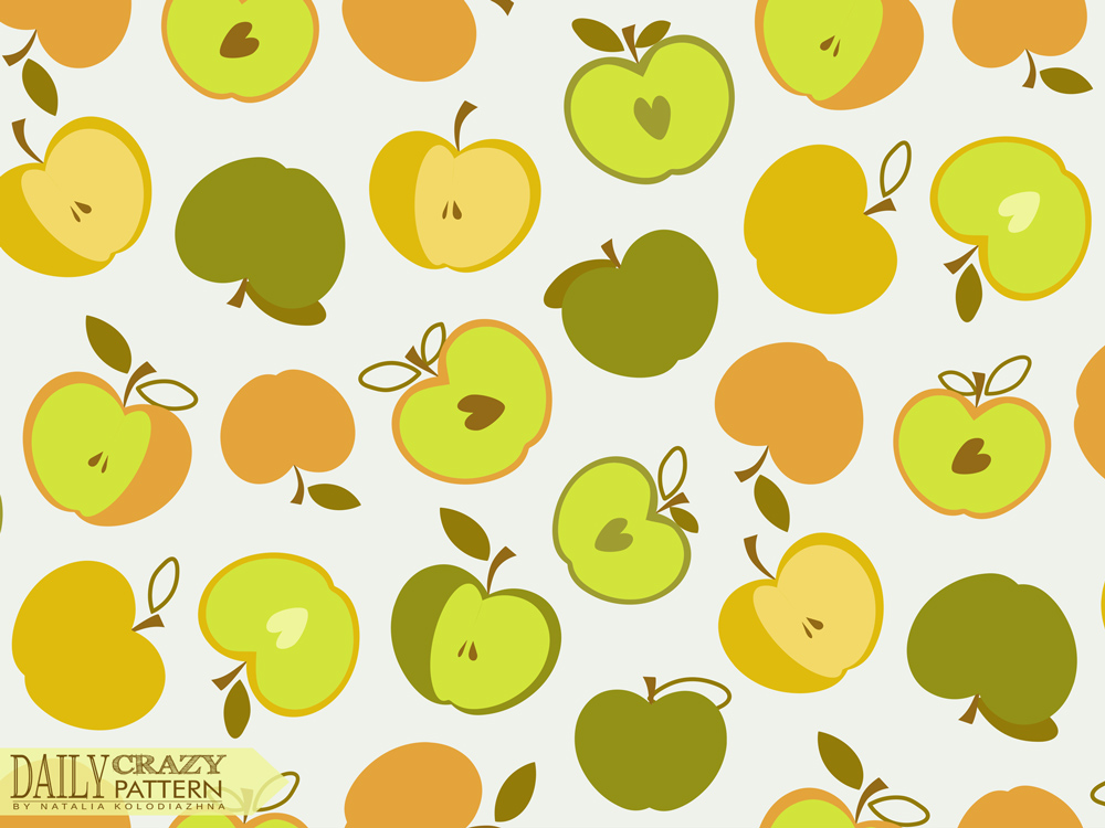 "Bright art print with sweet apples for ""Daily Crazy Pattern"" project"
