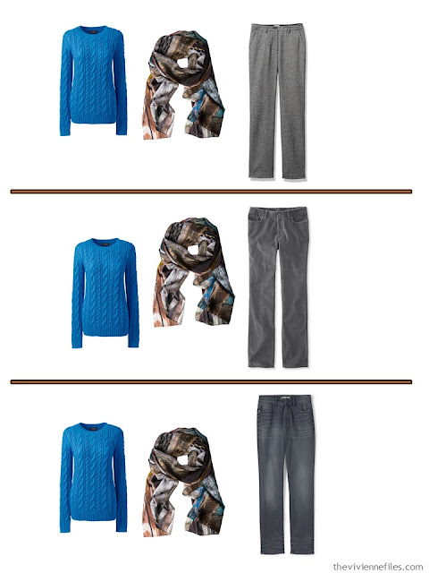 3 ways to wear a royal blue sweater with grey pants
