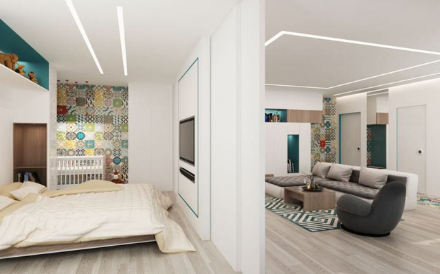 Tường ngăn phòng ngủ phòng khách
