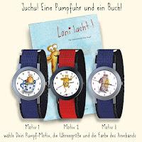 Kinderbuchillustration, Pumpf, Loni lacht, niedlich, Kommoß, Armbanduhren, Glückspumpf