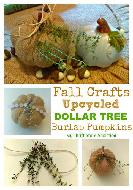 upcycled burlap pumpkins