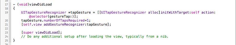 UITapGesture Code