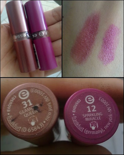 Essence lipstick swatch: Glamour Queen 31 and Sparkling Miracle 12