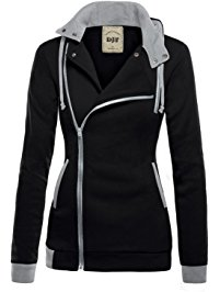This Image Relates DJT Women's Oblique Zipper Slim Fit Hoodie Jacket