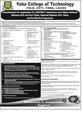 YABATECH 2016/2017 HND Part/Full-Time Admission Form