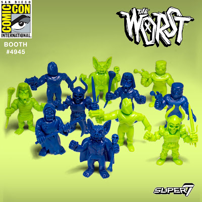 San Diego Comic-Con 2017 Exclusive Blue and Green Editions The Worst M.U.S.C.L.E. Rubber Mini Figures by Super7
