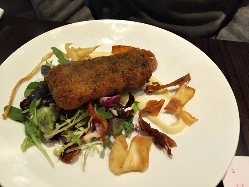 Haggis and Stornoway black pudding croquette with salad