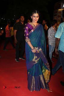 Actress Hebha Patel Stills in Green Silk Saree at Gemini TV Puraskaralu 2016 Event  0059.JPG