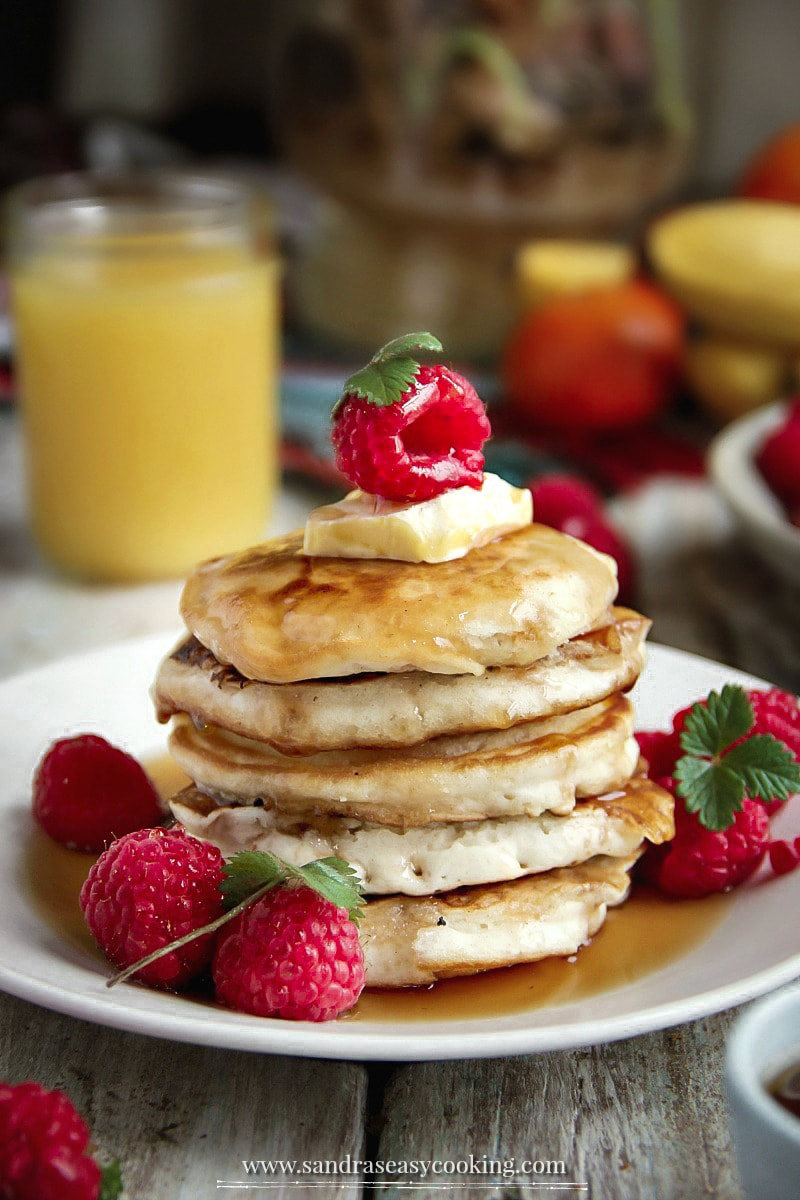 Classic Pancakes - Warm, buttery and sweet smell flow through the air as hot pancakes are lifted from the pan. #recipes #food #pancakes #cooking