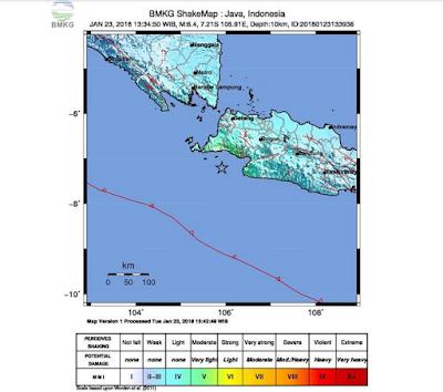 Gempa Bumi Guncang Lebak Banten dan Tidak Berpotensi Tsunami