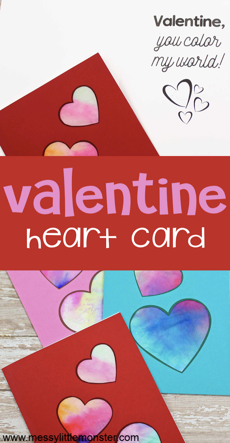Valentine heart card. A fun heart craft for preschoolers
