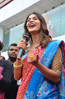 Puja Hegde looks stunning in Red saree at launch of Anutex shopping mall ~ Celebrities Galleries 127.JPG