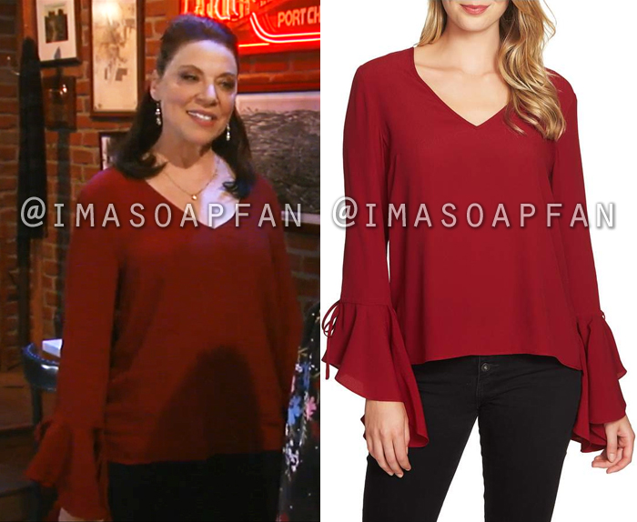 Liesl Obrecht, Kathleen Gati, Red V-Neck Top with Bell Sleeves, General Hospital, GH