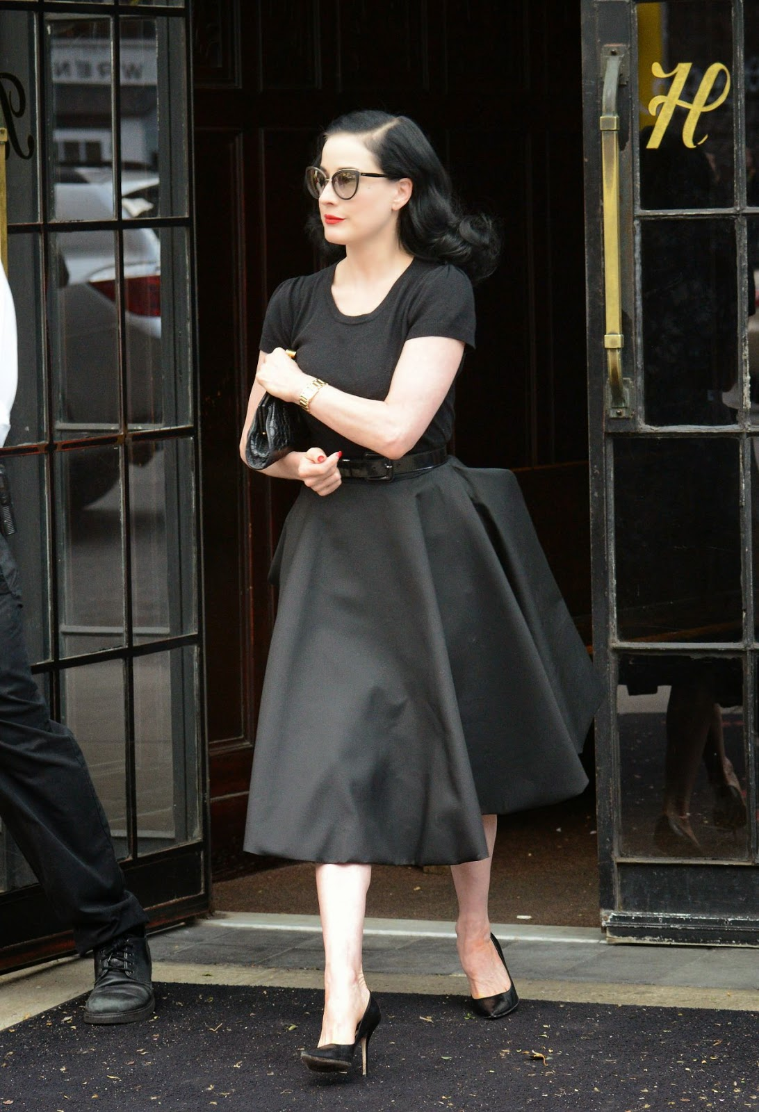 Andrew Blake Dita Von Teese dita von teese in an all black look out and about in ny