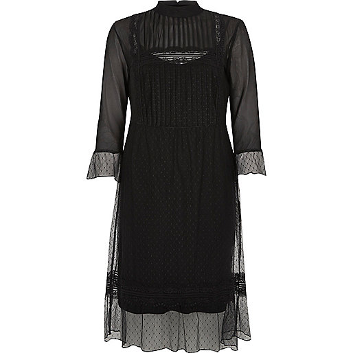river island black sheer dress, sheer victorian dress,