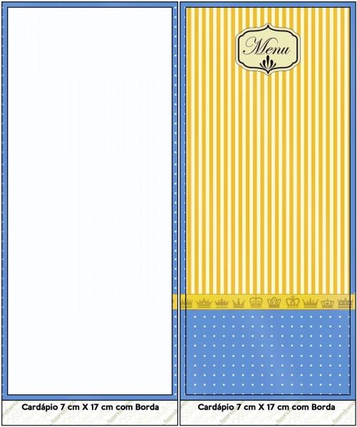 Corona Dorada en Azul y Amarillo: Imprimibles Gratis para Fiestas.