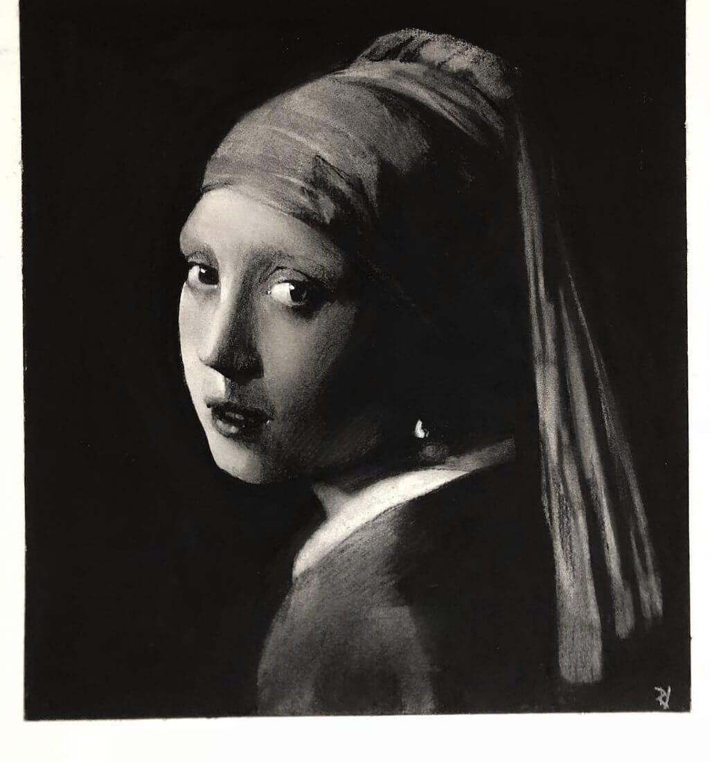 10-Girl-with-a-Pearl-Earring-Rick-Young-Celebrity-and-More-Charcoal-Portraits-www-designstack-co