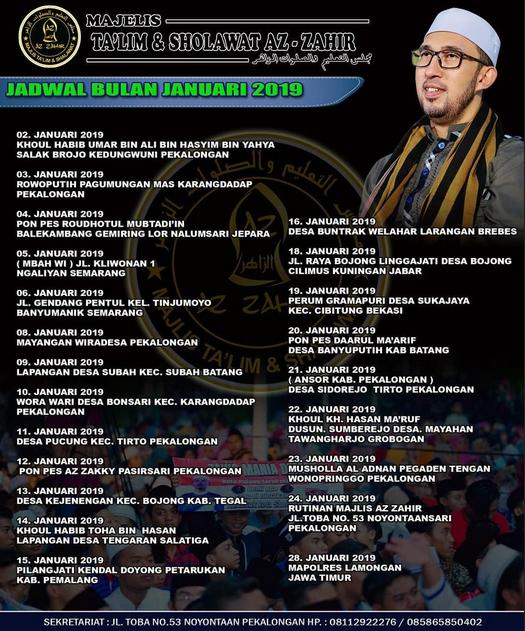 Jadwal Az Zahir Bulan Januari 2019 Terbaru
