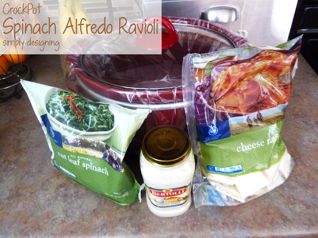 Crock Pot Spinach Alfredo Ravioli   a simple and really yummy crockpot meal!   #recipe #crockpot #emealstotherescue #pmedia #ad