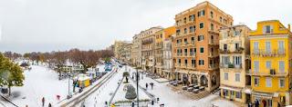 To εξαιρετικά σπάνιο θέαμα της χιονισμένης Κέρκυρας μετά από 13 χρόνια