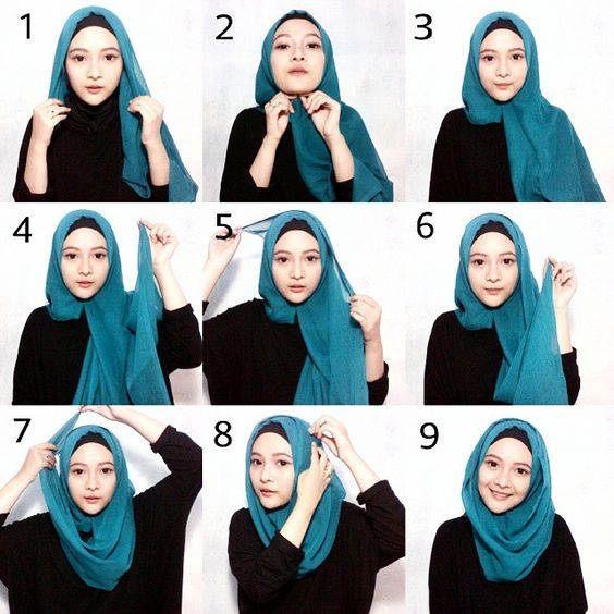 tutorial hijab segi empat modern style 3
