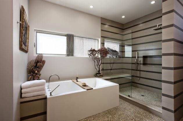 Espectaculares baños con paredes a rayas - Colores en Casa